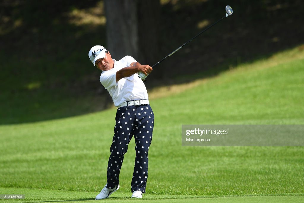 Massy Kuramoto of Japan shots during the final round of the Japan Airlines Championship at Narita Golf Club-Accordia Golf on September 10, 2017 in Narita, Chiba, Japan.