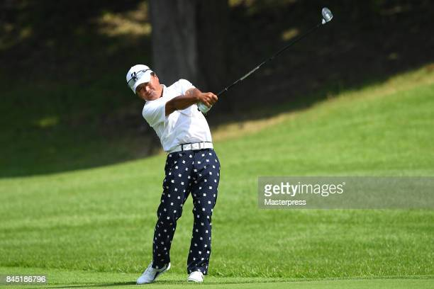 Massy Kuramoto of Japan shots during the final round of the Japan Airlines Championship at Narita Golf ClubAccordia Golf on September 10 2017 in...