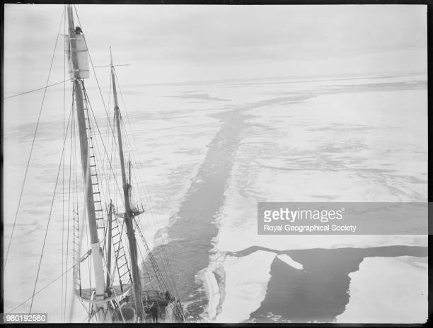 Mast of the 'Endurance' with the wake of the ship through a field of young ice Antarctica 1915 Imperial TransAntarctic Expedition 19141916