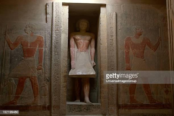 Mastaba of Mereruka Priest of Pharaoh Teti 6th Dynasty Old Kingdom Mereruka's statue at false door Saqqara Egypt