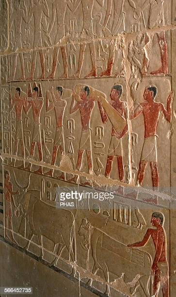 Mastaba of Nefer and Kahay Polychromed relief depicting porters of offerings 5th Dynasty Old Kingdom Saqqara Egypt