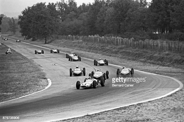 Masten Gregory Graham Hill OR Phil Hill Giancarlo Baghetti LotusClimax 18/21 Ferrari 156 Grand Prix of Italy Autodromo Nazionale Monza 16 September...