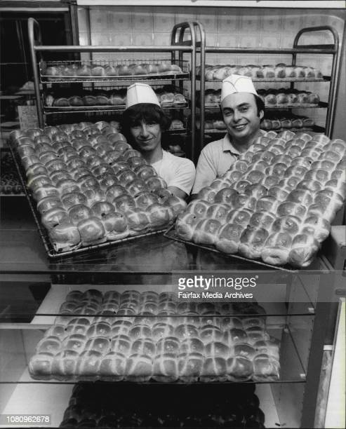 Master baker Gary Ashworth 41, and apprentice, Anthony Corr with some of the 6,500 dozen Hot Cross buns baked last night at Bowes Bake Inn, Wynyard....