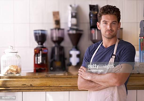 maestro barista - grembiule foto e immagini stock