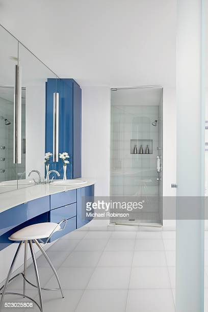 master bath in modern home, chicago illinois - michael robinson stock pictures, royalty-free photos & images