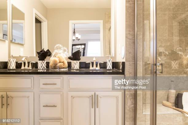 Master Bath in the Cambridge model home at Spring Creek on January 24 2018 in Laurel Maryland