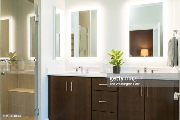 Master Bath in the Model at Townhomes at Cabin John Village on February 17, 2021 in Potomac Maryland.