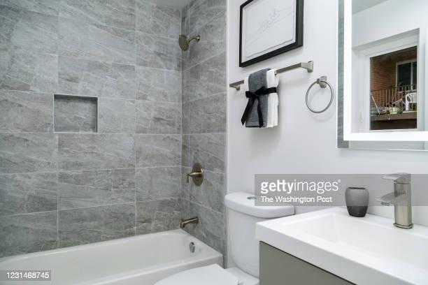 Master Bath in the Model Condo at The Benn on February 28, 2021 in Washington DC.