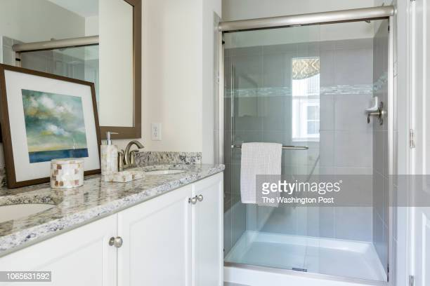 Master Bath in the model home at Annapolis Townes on November 20 2018 in Annapolis Maryland