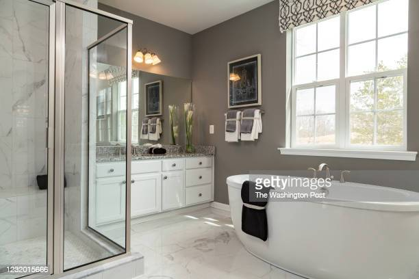 Master Bath in the Monterey II Model home at Signature Creek on March 23, 2021 in Accokeek Maryland.