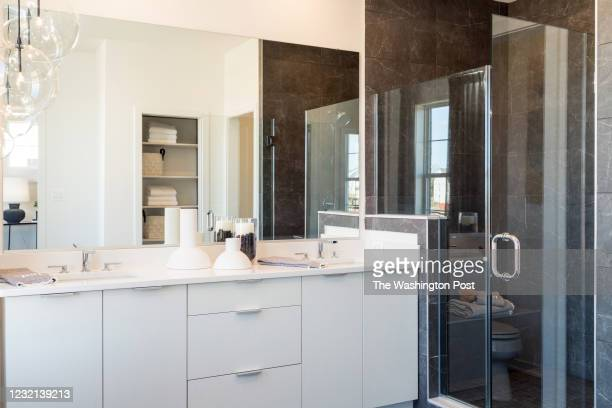 Master Bath in the Noma Virginian Townhome at Metro Walk on March 26, 2021 in Ashburn Virginia.