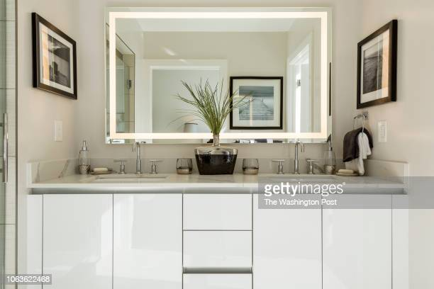Master Bath in Unit 211 of the historically renovated building at 1745 N Condominiums on October 31 2018 in Washington DC