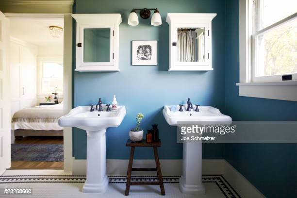 master bath of craftsman style house - medicine cabinet stock pictures, royalty-free photos & images