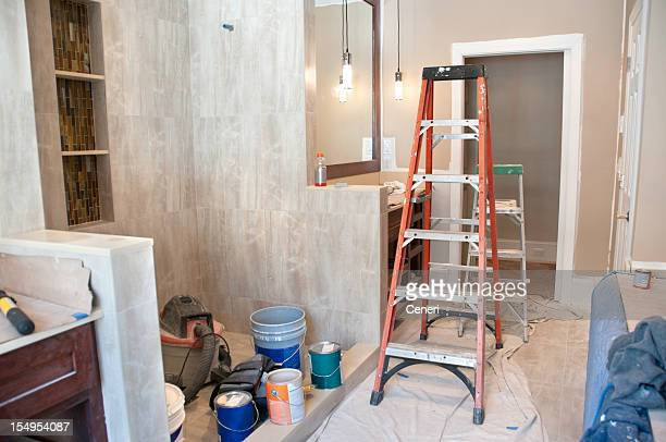 master bathroom in midst of remodeling - bathroom stock pictures, royalty-free photos & images