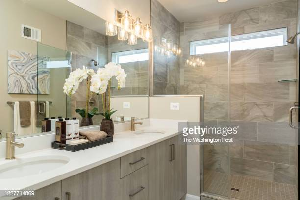 Master Bathroom in the Ashcroft Model Townhome at Eastchurch on July 9, 2020 in Frederick Maryland.