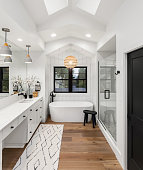 Master bathroom interior in new farmhouse style luxury home large mirror, shower, and bathtub.