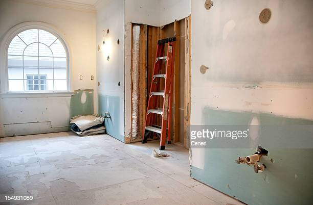 master bathroom remodeling and renovation in progress - reform stock pictures, royalty-free photos & images