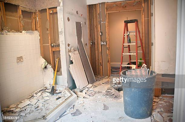 master bathroom remodeling: demolition phase - demolishing stock pictures, royalty-free photos & images