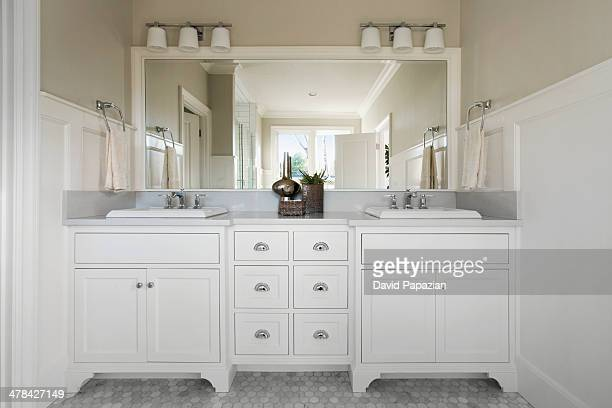 Master bathroom with marble flooring