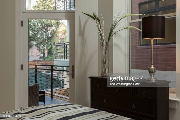 Master Bedroom in Unit 208 of the historically renovated building at 1745 N Condominiums on October 31 2018 in Washington DC