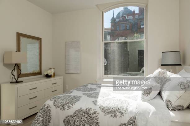 Master Bedroom in Unit 211 of the historically renovated building at 1745 N Condominiums on October 31 2018 in Washington DC
