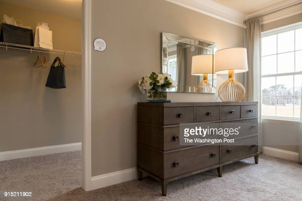 Master Bedroom showing Walk In Closet in the Ellicott model home at Spring Creek on January 24 2018 in Laurel Maryland