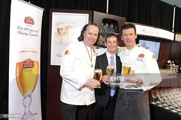 Master Beer Sommelier Marc Stroobandt Champion jockey Julien Leparoux and Bart Vandaele attend Stella Artois Kentucky Derby 2013 on May 2 2013 in...