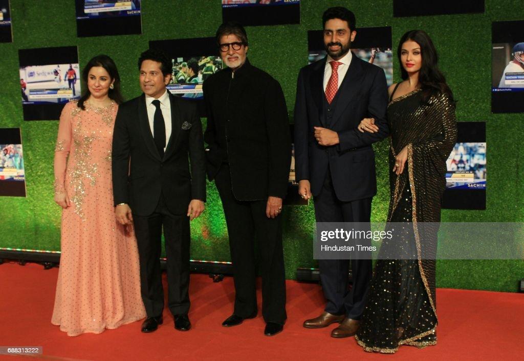 Master blaster Sachin Anjali Tendulkar along with Amitabh Bachchan Abhishek Bachchan and Aishwarya Rai Bachchan during the premier of his biopic...
