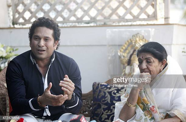 Master blaster Sachin Tendulkar with veteran singer Lata Mangeshkar visits MNS chief Raj Thackeray's residence for the first time after they were...