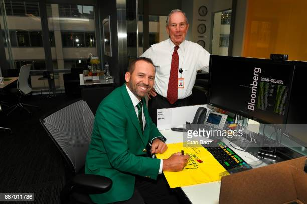 Master Champion Sergio Garcia and Mike Bloomberg founder, CEO, and owner of Bloomberg L.P pose for a photo during the Master's winner media tour...