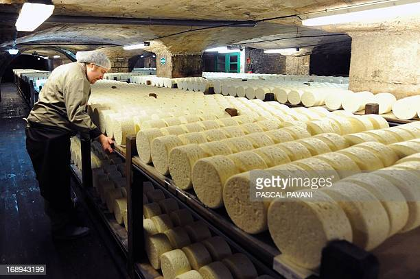 A master cheese maker looks at cheeses at the Roquefort Societe company on May 16 2013 in a cellar at RoquefortsurSoulzon southern France Roquefort...