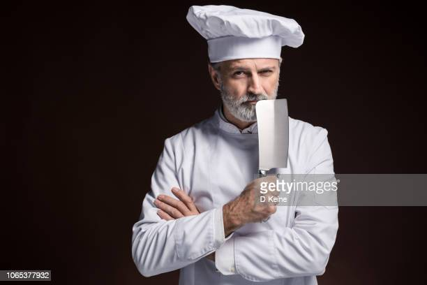 master chef - kitchen knife stock photos and pictures