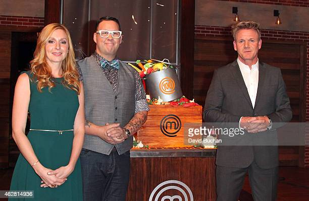 Master Chef's Judges Christina Tosi Graham Elliott and Gordon Ramsay attend FOX's Masterchef as it celebrates 100 Episodes at Walt Disney Studio Lot...