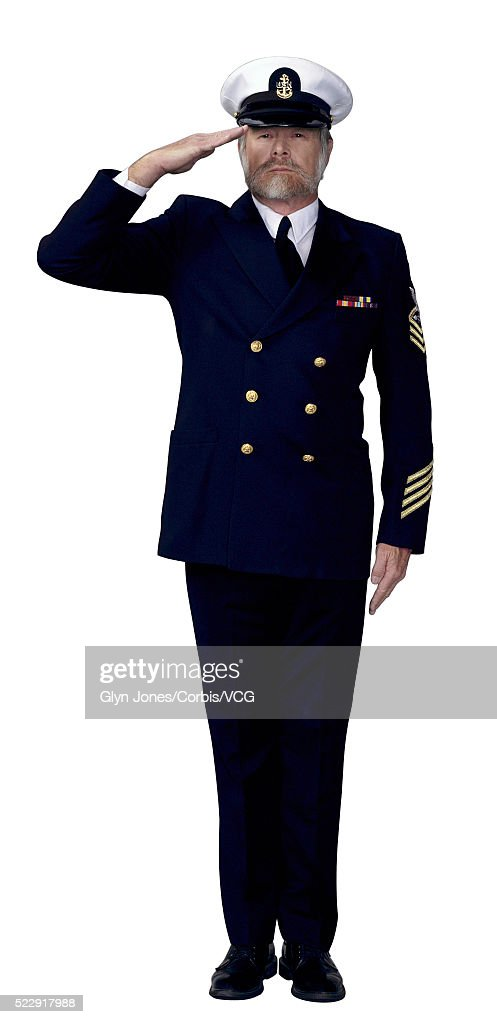 Master Chief Petty Officer Salutes : Foto de stock
