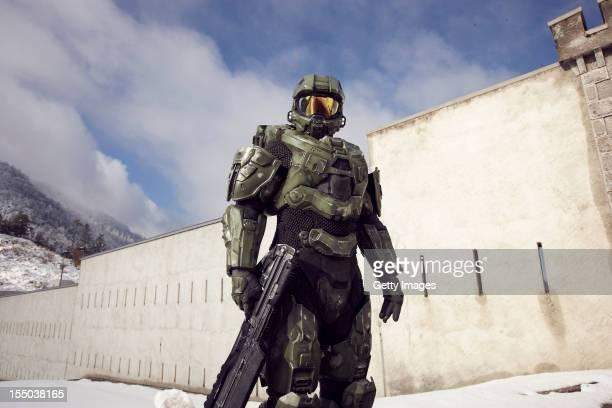 Master Chief stands guard at the Liechtenstein border during the HALO 4 launch by Xbox 360 on October 29 2012 in Balzers Liechtenstein Xbox 360...