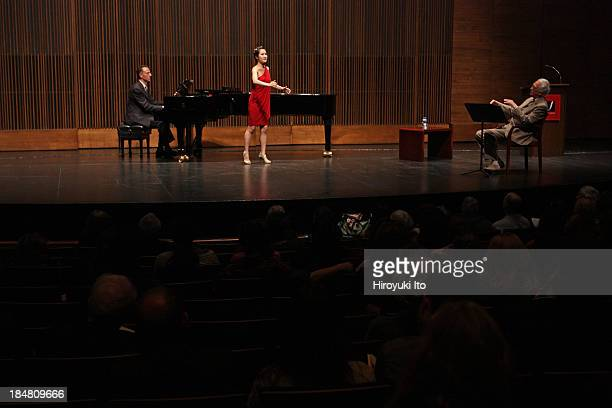 Master Class with Richard Bonynge at the Juilliard School on Wednesday night, October 9, 2013.This image:Hyesang Park and Richard Bonynge with the...