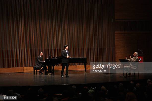 Master Class with Richard Bonynge at the Juilliard School on Wednesday night, October 9, 2013.This image:Takaoki Onishi and Richard Bonynge with the...