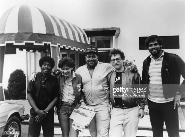 Master G Alexandra Chalustiak Big Bank Hank Danny Schecter ABC News producer and Wonder Mike of the pioneering rap group the Sugar Hill Gang pose for...