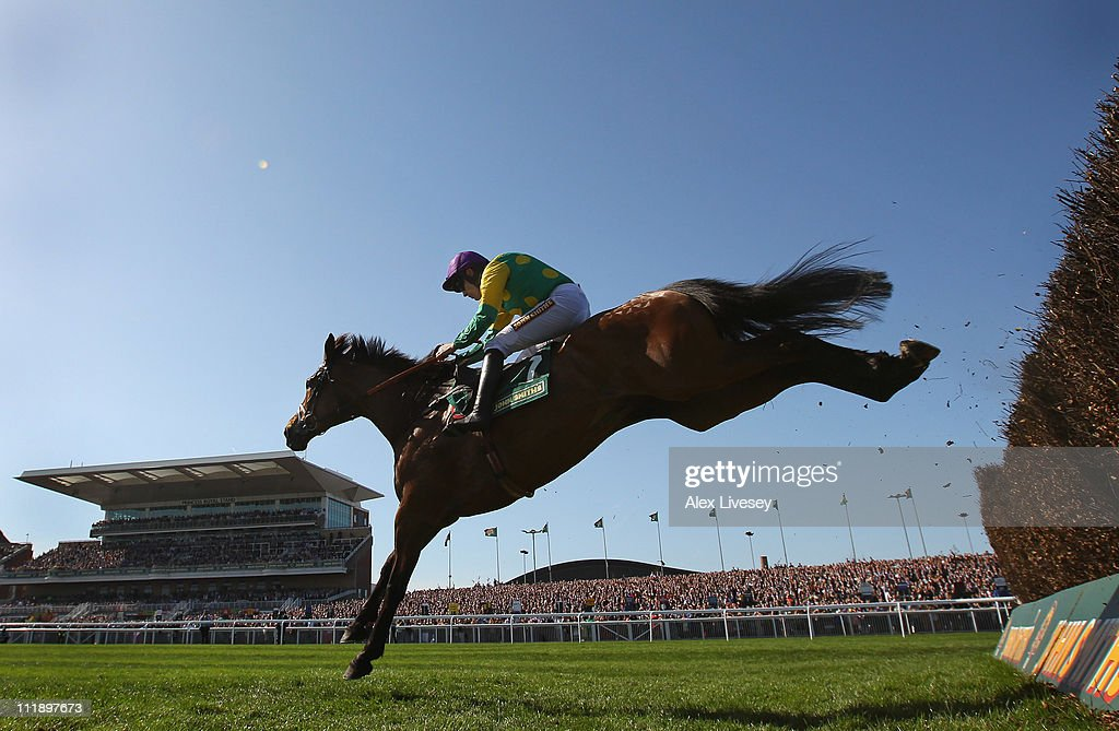 Master Minded ridden by Ruby Walsh clears the last fence on their way to victory in The John Smith's Melling Steeple Chase during Ladies' Day at Aintree Racecourse on April 8, 2011 in Liverpool, England.