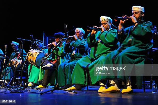 Master Musicians Of Jajouka perform as support for Ornette Coleman on stage as part of Meltdown at the Royal Festival Hall on June 21, 2009 in...