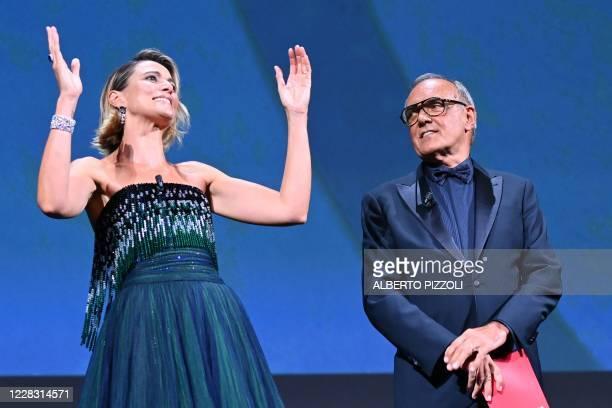 Master of Ceremonies and festival sponsor Italian actress Anna Foglietta and Director of the Venice Film festival Alberto Barbera declare the...