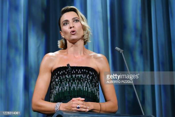 Master of Ceremonies and festival sponsor Italian actress Anna Foglietta speaks during the opening ceremony on the opening day of the 77th Venice...