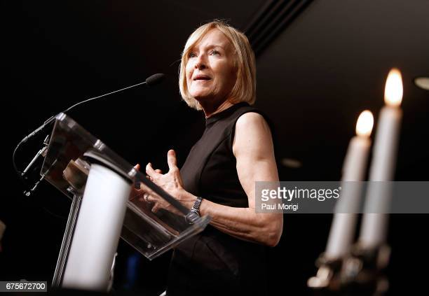 Master of Ceremonies and Journalist Judy Woodruff speaks at the 2017 James W Foley Freedom Awards at the Newseum on May 1 2017 in Washington DC The...