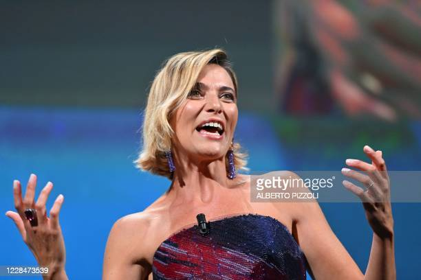 Master of Ceremonies and sponsor of the festival Italian actress Anna Foglietta speaks during the closing ceremony on the last day of the 77th Venice...