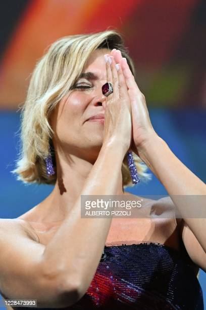 Master of Ceremonies and sponsor of the festival Italian actress Anna Foglietta gestures as she speaks during the closing ceremony on the last day of...