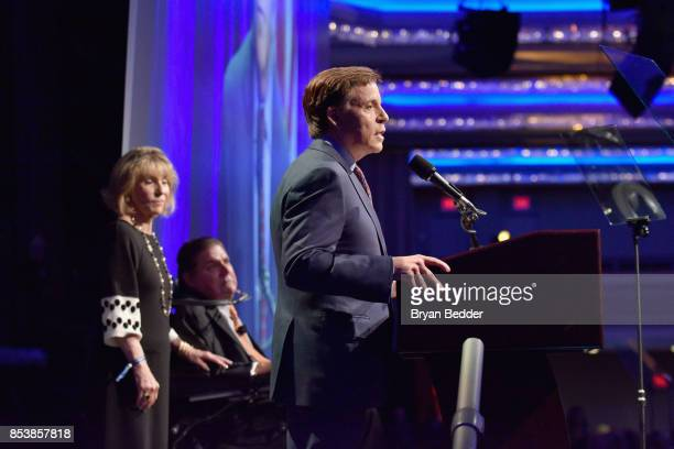 Master of Ceremonies Bob Costas speaks onstage during the 32nd Annual Great Sports Legends Dinner To Benefit The Miami Project/Buoniconti Fund To...