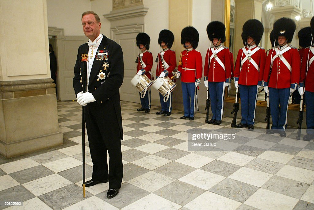 Master of Ceremonies Christian Eugen-Olsen awaits the arrival of guests prior to a celebratory dinner at Christiansborg Palace on May 11, 2004 in honor of the upcoming wedding of Crown Prince Frederik to Miss Mary Elizabeth Donaldson on May 14th in Copenhagen, Denmark.