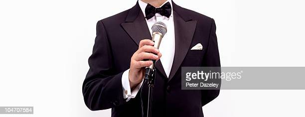 Master of ceremonies comedian with microphone