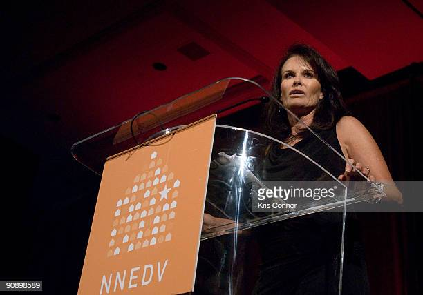 Master of Ceremonies Denise Brown speaks during the National Network To Domestic Violence's 2nd Annual Fall Gala at the Mandarin Oriental Hotel on...