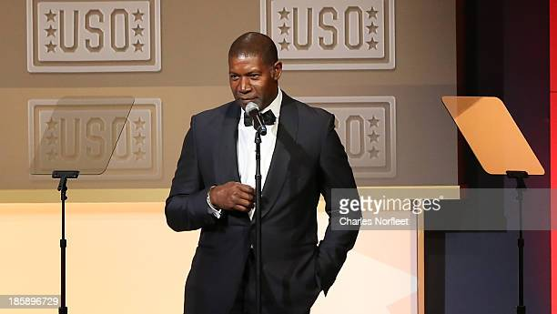 Master of Ceremonies Dennis Haysbert on stage at the 2013 USO Gala at Washington Hilton on October 25 2013 in Washington DC